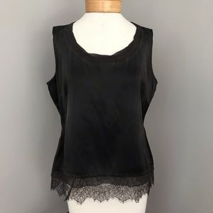 Elie Tahari Brown Silk and Lace Sleeveless Top